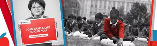 On the left a child holding a poster that says I can save a life so can you and on the right a group of students sitting on grass operating a CPR dummy.