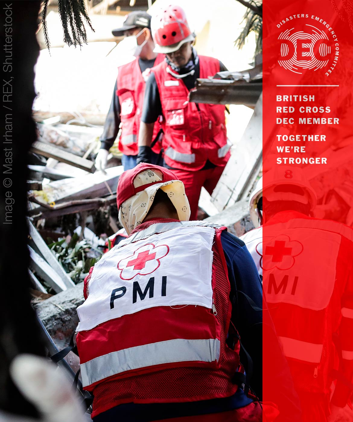 Indonesian Red Cross members sorting through debris after the tsunami