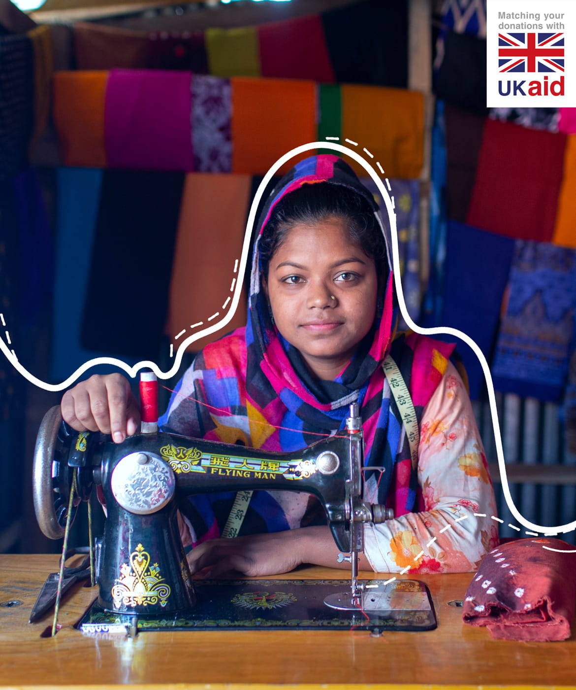 Munia, 17, was given a sewing machine and from there started her own tailoring business.