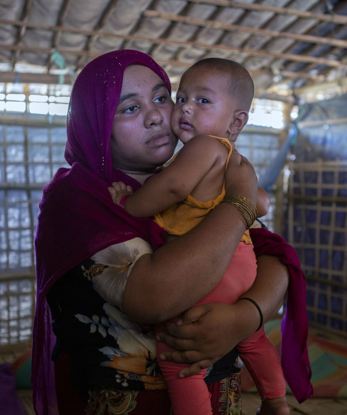 A mother and child living in Kutapalong camp, Cox's Bazar, Bangladesh.